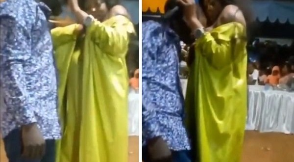 Weird video shows Ghanaian female pastor breastfeeding a male church member, says it's holy milk